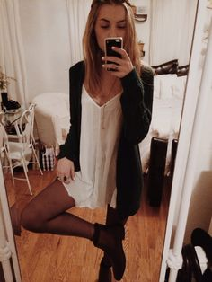 White dress , black cardigan , tights