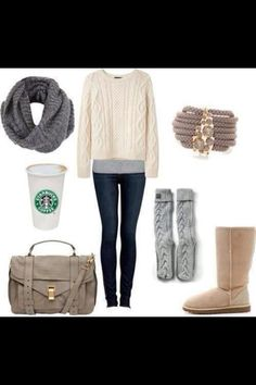 Cozy sweater for winter... Love the purse