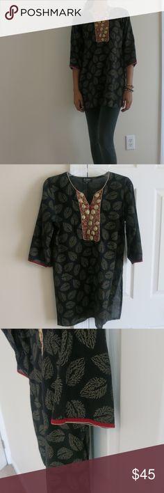 Black Embroided Tunic Great Feel! Super Stylish Tops Tunics