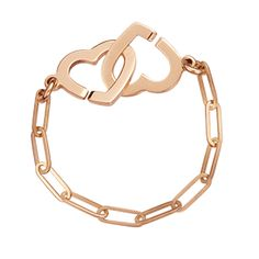 Double Hearts chain ring :: The Menottes dinh van shaped as two hearts, to symbolise the bonds of love and friendship.