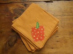 Orange Cloth Napkins Set of 4 Vegetables by SeedlingDesign on Etsy, $20.00