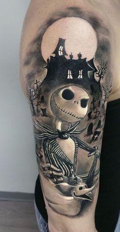 Nightmare Before Christmas tattoo by Roberto at Holy Trinity Tattoos - Disney Tattoo - Halloween Jack Tattoo, Jack Skeleton Tattoo, 100 Tattoo, Tatoo Art, Body Art Tattoos, Sleeve Tattoos, Inspiration Tattoos, Tattoo Ideas, Tattoo Designs