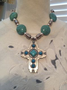 16 Necklace/ Cross Pendant/ Black Leather by AnkesUniqueTreasures