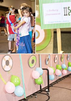 Girly Viking Dragon Academy Birthday Party. Party game ideas such as archery tournament.