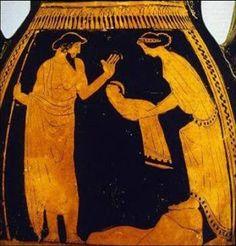 *** Rea y Crono, 475 – 425 a.C. Pelike de figuras rojas. Metropolitan Museum. New York.