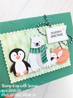 Christmas Card Crafts, Stampin Up Christmas, Xmas Cards, Christmas Holidays, Scrapbook Cards, Scrapbooking, Homemade Greeting Cards, Animal Cards, Card Making Inspiration