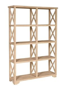 """Free Shipping! Our solid Parawood hardwood room divider book case features X shaped sides and divider and 4 fixed book shelves. Dimensions: 47"""" Wide x 14"""" Deep x 72"""" Tall Bookshelves ship unfinished a Книжные Полки, Мебель Своими Руками, Мебель Из Поддонов, Ящики, Книги Мебель, Украшения Для Дома"""