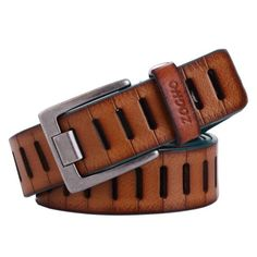 88bec239fb97 New Mens Leather Belt Vintage Buckle Waist Strap Fashion Male Hollow  Waistband