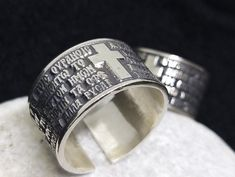 Cross Prayer Silver Ring, Writer Gifts, Prayer Kneeler, One of a Kind Ring, Fantasy Rings, Best Friend Rings #silver #religious #ring #orthodox #UniqueRing #greece #staysafe #wannahave #wannabuy # #bestfriendsrings #handcraftedrings #tinanniversarygift #talisman Tin Anniversary Gifts, Best Friend Rings, Handmade Rings, Unique Rings, Napkin Rings, Greece, Best Friends, Prayers, Rings For Men