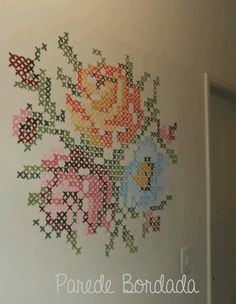 Paint crosstitch wall mural