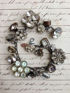 ♕ Paula Montgomery vintage repurposed bracelet with antique rhinestone buttons