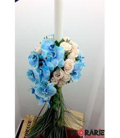 Lumanare botez curgatoare albastra Terraria, Hanukkah, Wreaths, Home Decor, Terrariums, Decoration Home, Room Decor, Bouquet, Interior Decorating
