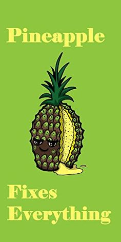 'Pineapple Fixes Everything' Food Humor Cartoon - Plywood Wood Print Poster Wall Art
