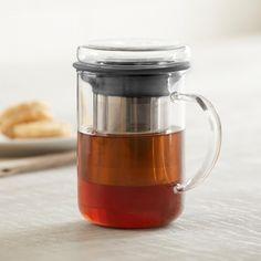 KSP Steep Glass Tea Mug with Infuser (Clear/Black)