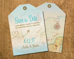 Luggage tag with map save the date invites announcing your upcoming wedding. Cut on diagonal like a true tag featured in golds, aqua blue, vintage map in background. Maya Riviera, Mexico, Jamaica, Punta Cana, Cabo and more, any travel resort and location your beach ceremony will be held.  Save the date is 5.25 x 3.75 printed on 100 lb. carolina card stock for good durability and light coating. Comes with cream envelopes. Minimum print order of 20 sets (invite/envelope) x $4/set. Pricing per…