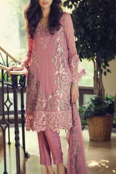 This dull tea pink embroidered chiffon dress by Maria B. to add colors to your… Pakistani Outfits, Indian Outfits, Pakistani Couture, Ethnic Fashion, Asian Fashion, Eastern Dresses, Pakistan Fashion, Desi Clothes, Indian Attire