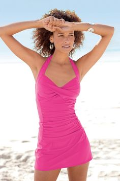 Solid Ruched Halter Skirtini by Shape Benefits®