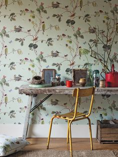 Sanderson Wallpaper - Woodland Chorus (215706) The design is painted by watercolour in exquisitely fine detail features beautiful birds and insects. Perfect for a creatives study or playful interior.