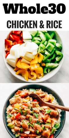 Healthy sweet and sour chicken with cauliflower rice. Paleo, whole30, and made without sugar! An easy weeknight dinner recipe, freezer friendly, and makes for fast meal prep! Whole30 meal plan that's quick and healthy! Whole30 recipes just for you. Whole30 meal planning. Whole30 meal prep. Healthy paleo meals. Healthy Whole30 recipes. Easy Whole30 recipes. Best paleo dinner recipes.