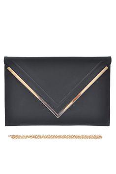 * Vintage Faux Leather Envelope Detail Clutch * 15W*10H*