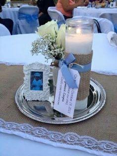 Centro de mesa vela y foto