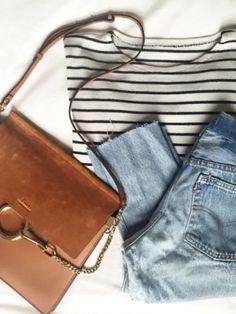 MINIMAL + CLASSIC: Denim, stripes with Chloe Faye bag in leather
