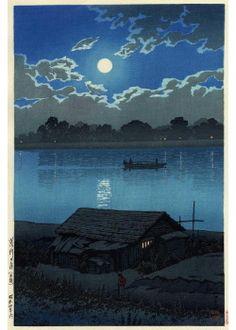 Chill wind stirs at horizon's end:  My friend, what news? - Tu Fu thinking of Li Po    Full Moon at Arakawa River by Hasui KAWASE (1883~1957), Japan