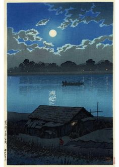 Full Moon at Arakawa River by Hasui KAWASE (1883~1957), Japan