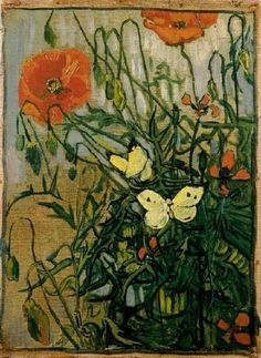 Van Gogh 1890| Butterflies and Poppies 13-1/2x10 inches) |the Van Gogh Museum , Amsterdam.