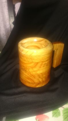 Mug made from wood, finished with oil, varnish and stain - First of a series.