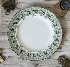 French antiques Saint-Amand & Hamage plate green floral ironstone chateau transferware authentic french country 1900s cha de la boutique TheGreenMoonVintage sur Etsy
