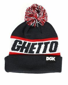 buy popular 91112 0623b DGK Dirty Ghetto Kid Label GHETTO Red White BLACK Pom Beanie  fashion   clothing  shoes  accessories  mensaccessories  hats (ebay link)