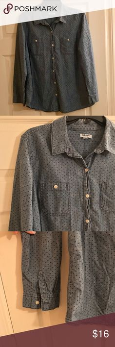 Old Navy Denim Top Button down polka dot denim top. Polka dots are navy. Perfect condition no flaws! Old Navy Tops Button Down Shirts