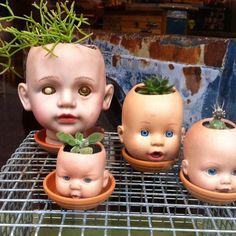 via Texas Art Asylum #baby #doll #head #planters #grow #green #creepy #reuse…