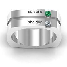 Personalized Grooved Square Shape Birthstone Mens #Ring #Jewelry