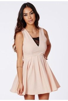 #MissguidedAW14 Darlene Ribbed Boxpleat Lace Detail Skater Dress Nude