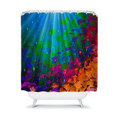 UNDER THE SEA Colorful Art Shower Curtain Abstract Painting Mermaid Ocean Waves Splash Rainbow Ombre Washable Beach Decor Modern Bathroom