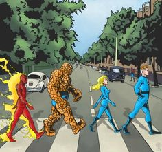 """The Beatles, """"Abbey Road"""" + Fantastic Four   14 Classic Album Covers Reinterpreted With Superheroes"""