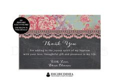 Baptism CHALKBOARD THANK YOU Card 4x6 Flat Printed Bohemian Shabby Chic Rose Girl Christening Bridal Shower Rustic thank you cards available at digibuddha.com
