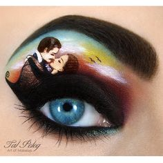 Different eyes shadow shades are used to create this Gone With the Wind inspired makeup look. See the different products used to create this work of eye art.