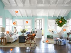 Ceiling, front door, hammock, floors - Hurricane Sandy House Makeover - 2013 House of the Year Photos - Country Living