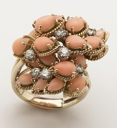 Angel Skin Coral and Diamond Cocktail Ring