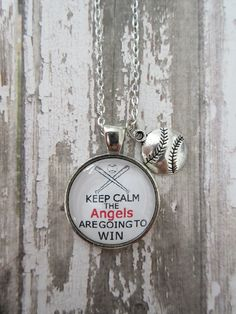 MLB Choose Your Team/Color Keep Calm The Angels Are Going To Win Glass Pendant Necklace With Baseball Charm