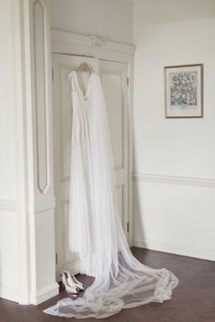 Brides dress hanging in the Bridal Suite