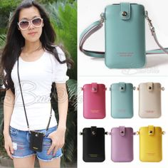 New Faux Leather Skin Case Cover Wallet Pouch with Strap for iPhone 4 4S 5 5S 5c | eBay