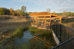 Canopy roof framing. International Crane Foundation. The Kubala Washatko Architects, Inc.
