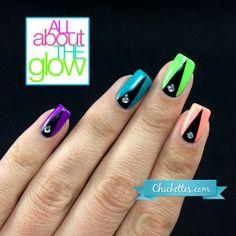 Colorful Stiletto Half Moon Nail Art