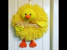 "(10) Bubble Poof Jute 21"" Deco Mesh Duck Wreath - YouTube"