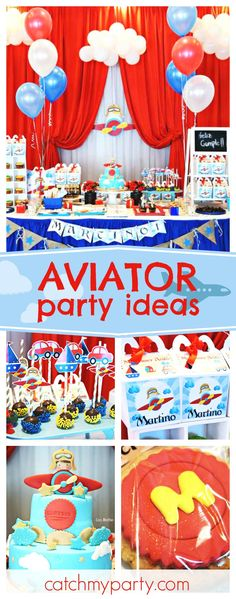 Check out this awesome little boys' Aviator themed birthday party. The dessert table is fantastic!! See more party ideas and share yours at CatchMyParty.com