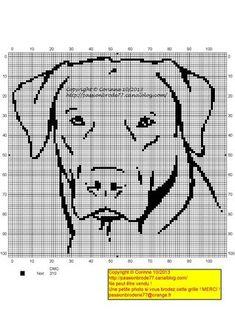 chien - dog - broderie - cross stitch- Labradore - Point de croix - Blog : http://broderiemimie44.canalblog.com/